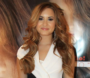 Image showing Buy Demi Lovato Helmut Lang black & white draped dress - 'Unbroken' album signing in Milan