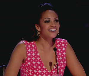Image showing Shop Alesha Dixon Diane von Furstenberg pink print dress - BGT Auditions
