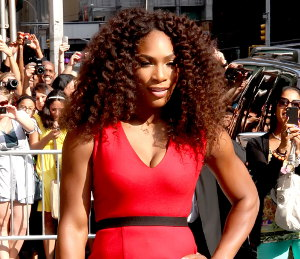 Image showing Serena Williams red hot in Victoria Beckham on David Letterman - va va voom!