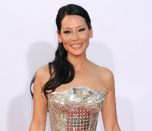 Image showing Lucy Liu in Versace, Christine Baranski & more metallic @ 2012 Emmy Awards