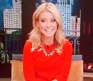 Image showing Buy Kelly Ripa Miu Miu red dress online @ 'LIVE! with Kelly & Michael'