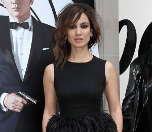 Image showing Shop Berenice Marlohe Alexander McQueen feather top - 'Skyfall' Paris photocall