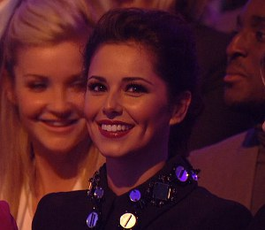 Image showing Shop Cheryl Cole Miu Miu embellished collar dress on Strictly Nov 10