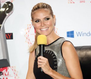 Image showing Shop Heidi Klum Versace black & silver dress - MTV EMAs photocall