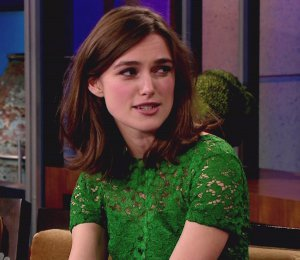 Image showing Keira Knightley in Burberry Prorsum green lace dress on Jay Leno Nov 13