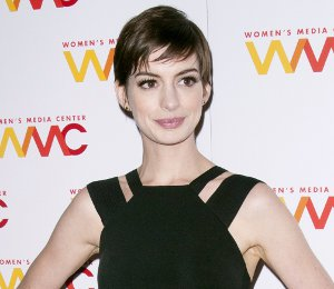 Image showing Anne Hathaway in Victoria Beckham black dress - 2012 Women's Media Awards