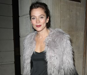 Image showing Shop Anna Friel Topshop ombre faux fur coat - leaving the theatre on Nov 14