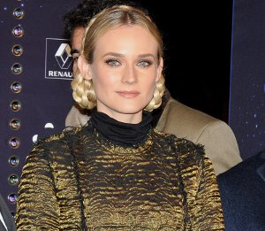 Image showing Shop Diane Kruger Lanvin brocade dress & tiger belt - Christmas lights in Paris