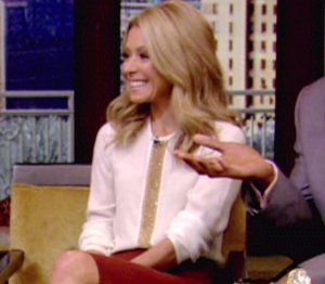 Image showing Shop Kelly Ripa Dsquared cream & gold blouse - 'LIVE! with Kelly & Michael' Dec 4