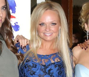 Image showing Shop Emma Bunton Erdem blue lace dress - 'Viva Forever' press night