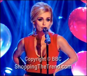 Image showing Shop Katherine Jenkins red dress on Strictly Dec 16 singing 'Santa Baby'
