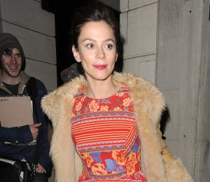 Image showing Shop Anna Friel Topshop aztec dress - leaving the theatre on Dec 18