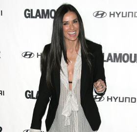 Get the Look: Demi Moore in Balmain bow blouse, leather ...