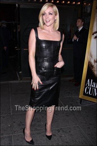 jane krakowski black leather dress at cabaret opening night