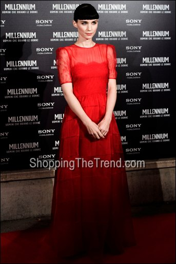 rooney mara red lace dress