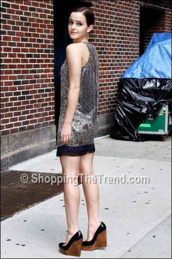 Emma Watson In Balmain Silver Dress On David Letterman