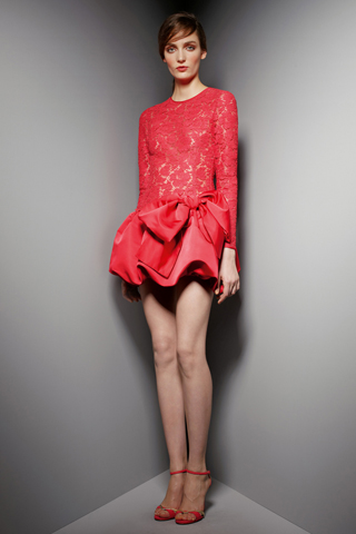 Emma Watson In Valentino Red Lace Dress Lancome Pre