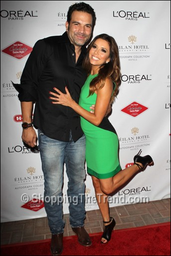 Eva Longoria in David Koma green and black dress