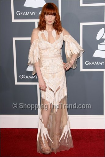 florence welch givenchy white dress grammy awards