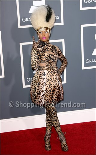 nicki minaj leopard print grammy awards