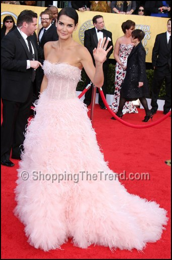 angie harmon monique lhuillier pink feather dress sag awards