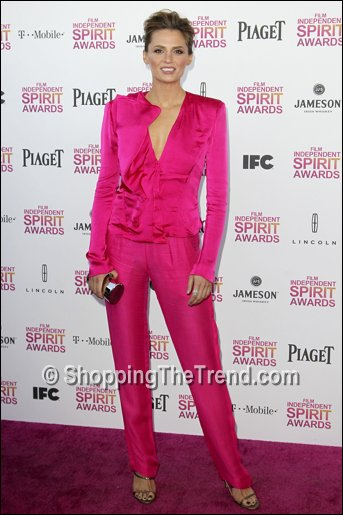 Stana Katic pink suit Independent Spirit Awards