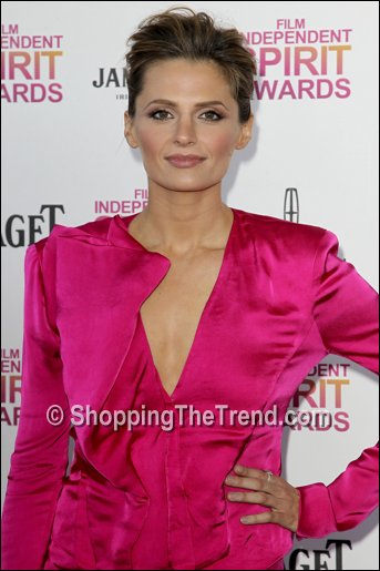 Stana Katic Donna Karan pink Independent Spirit Awards