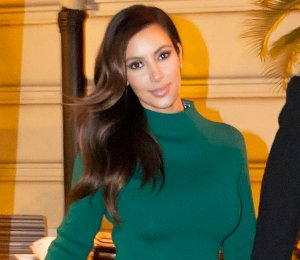 Image showing Shop Kim Kardashian Lanvin green dress  - in Rome with Kanye