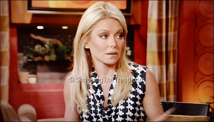 kelly ripa black & white houndstooth dress march 1