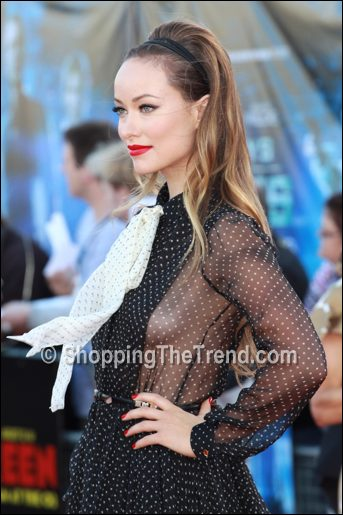 olivia wilde polka dot dress cowboys & aliens premiere
