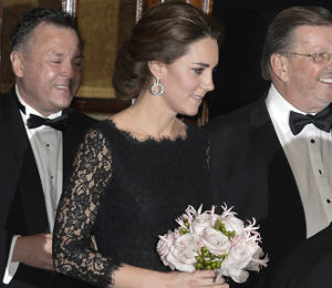 Kate Middleton black lace gown by DVF at Royal Variety Performance