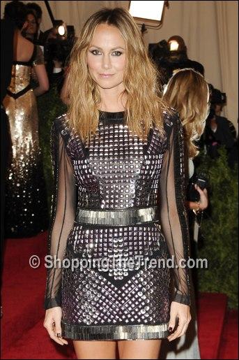 Stacy Keibler In Monique Lhuillier Leather Dress A E Upfront