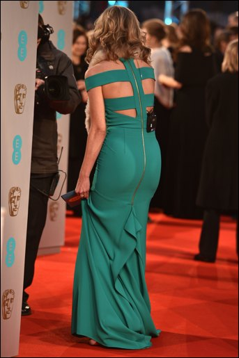 rachel riley green dress at the baftas by roland mouret