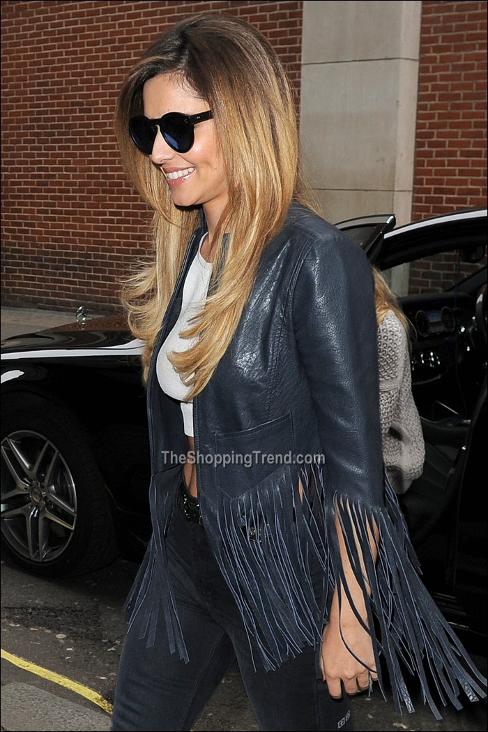 Cheryl Cole Fringe Leather Jacket Amp Crop Top At Kiss Fm