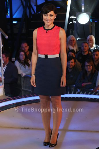 Emma Willis Red Amp Blue Dress On Celebrity Big Brother By