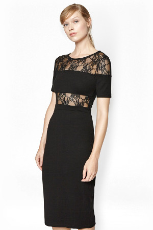 French Connection Linear Mesh Midi Dress