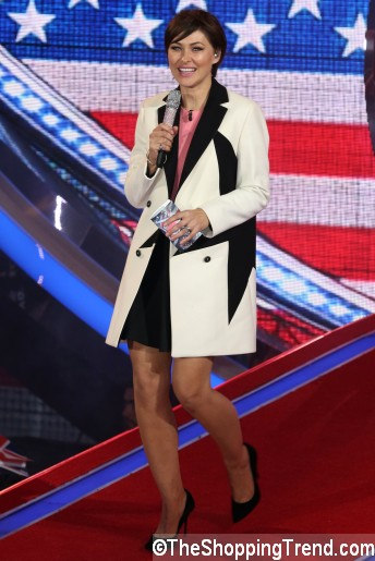 Emma Willis black white coat Celebrity Big Brother Final