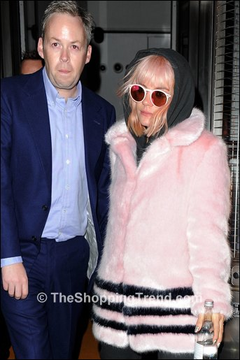 Lily Allen pink fur coat Shrimps