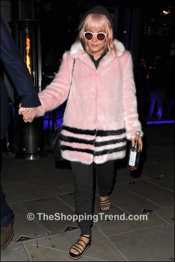 Lily Allen Shrimps pink faux fur coat