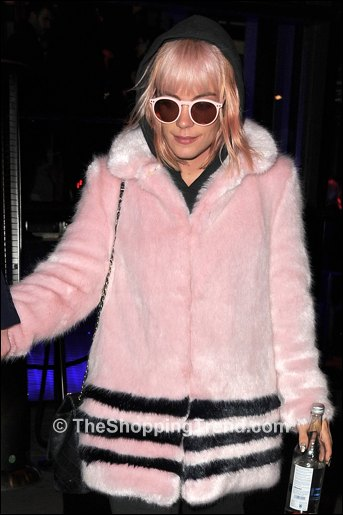 Lily Allen pink faux fur coat by Shrimps