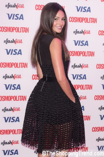 Michelle Keegan black dress Cosmo FashFestb by Maje