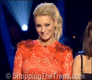 Image showing Shop Tess Daly Matthew Williamson red lace dress - Strictly Dec 9