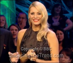Tess Daly in Catherine Deane Dennis Basso dress