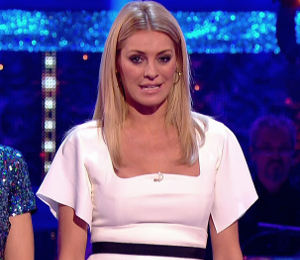 Tess Daly white dress on Strictly Results by Antonio Berardi (October 19)