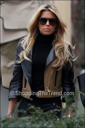 Sylvie van der Vaart in two tone leather jacket by Yves Saint Laurent ...