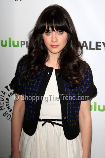 zooey deschanel marni blue jacket paleyfest