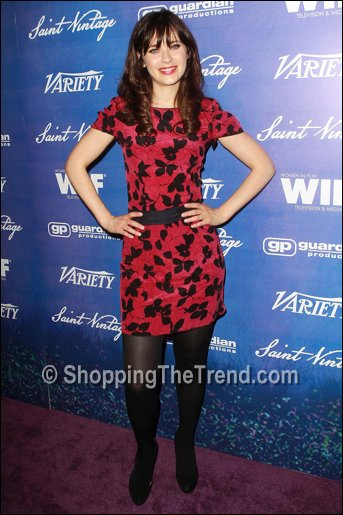 Zooey Deschanel in Nina Ricci dress Pre-Emmy Party