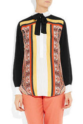 Sandro Express Printed Silk And Crepe Blouse