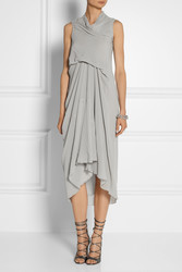 Rick Owens Tornado Draped Silk Georgette Dress Intl Shipping