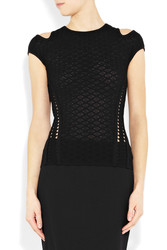 Versace Cutout Stretch Crochet Knit Top Intl Shipping